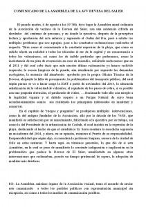 Comunicado ASAMBLEA  DE  LA  AVV DEVESA DE EL SALER